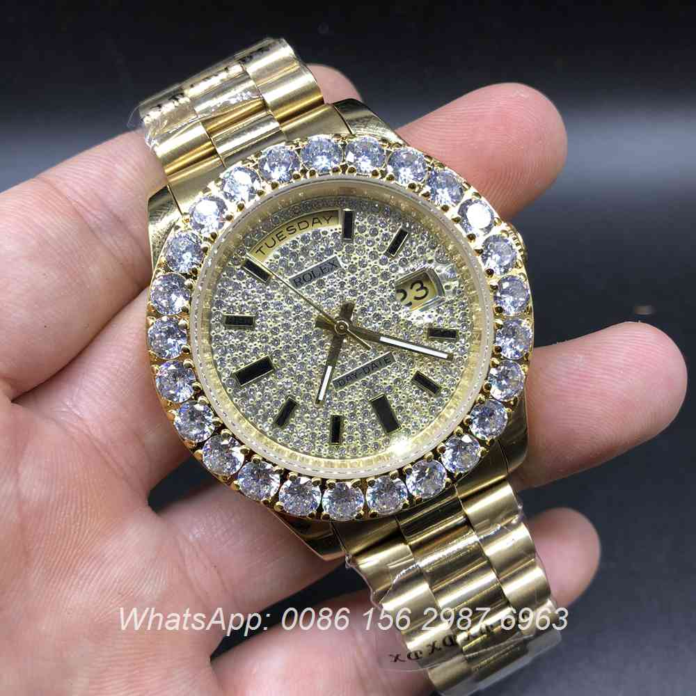 R033AS117, Rolex DayDate prongset bezel diamonds dial gold case