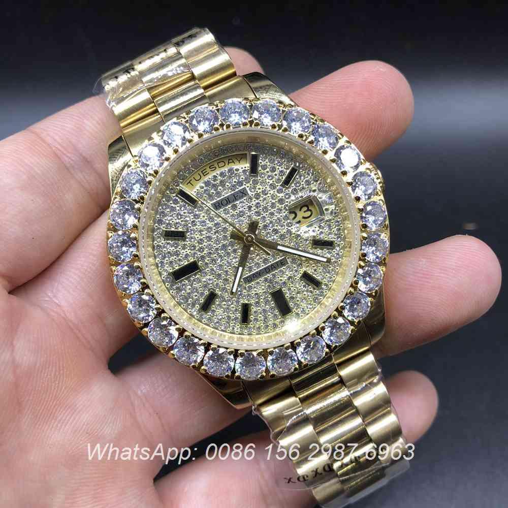 R033AS117, Rolex DayDate prongset bezel diamonds dial gold case
