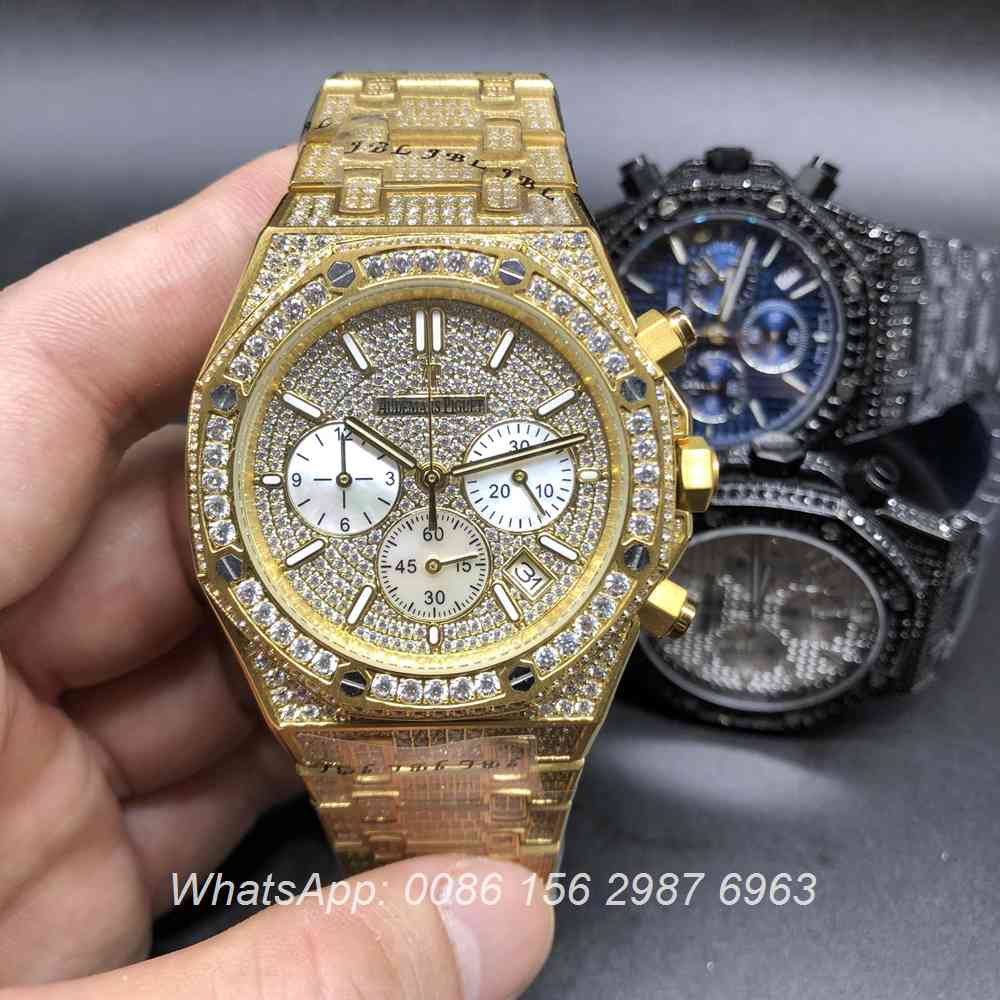 A160BL120, AP diamonds yellow gold watch Chronograph quartz