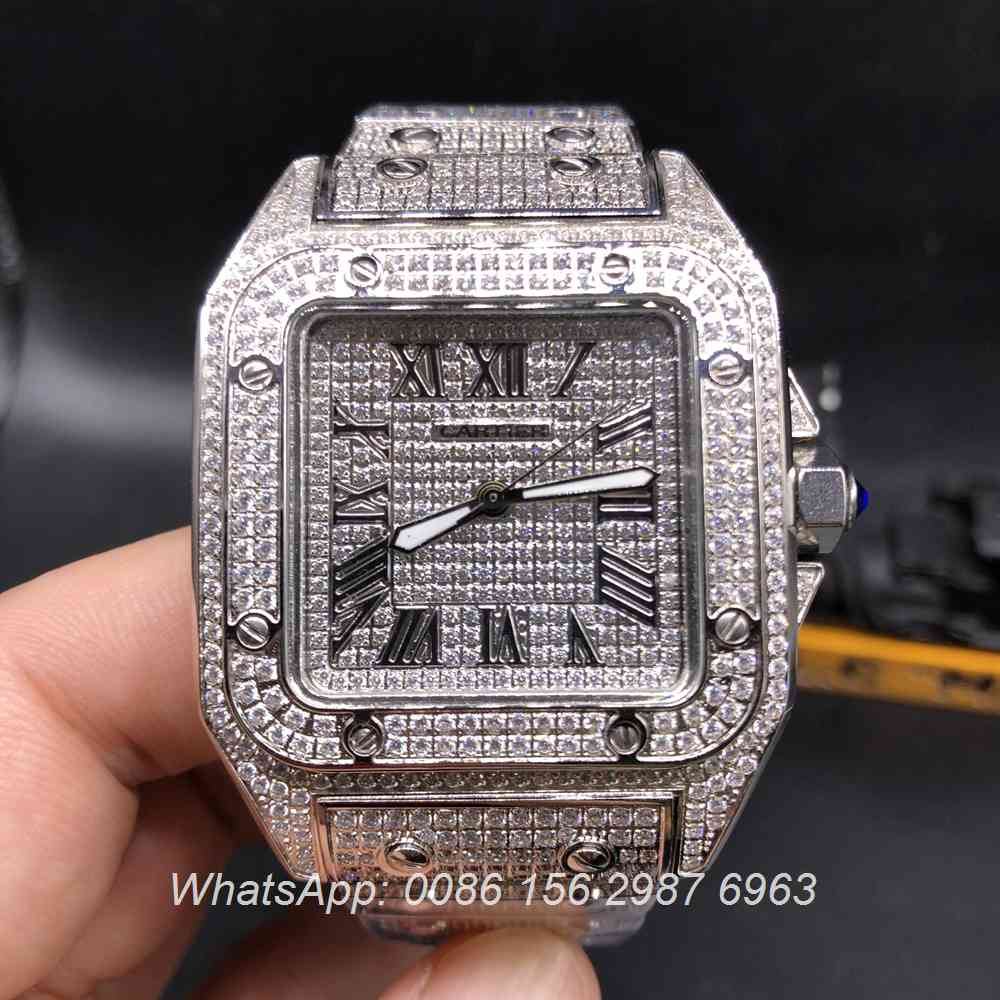 C160Z118, Cartier Santos full iced out silver case diamonds dial quartz watch