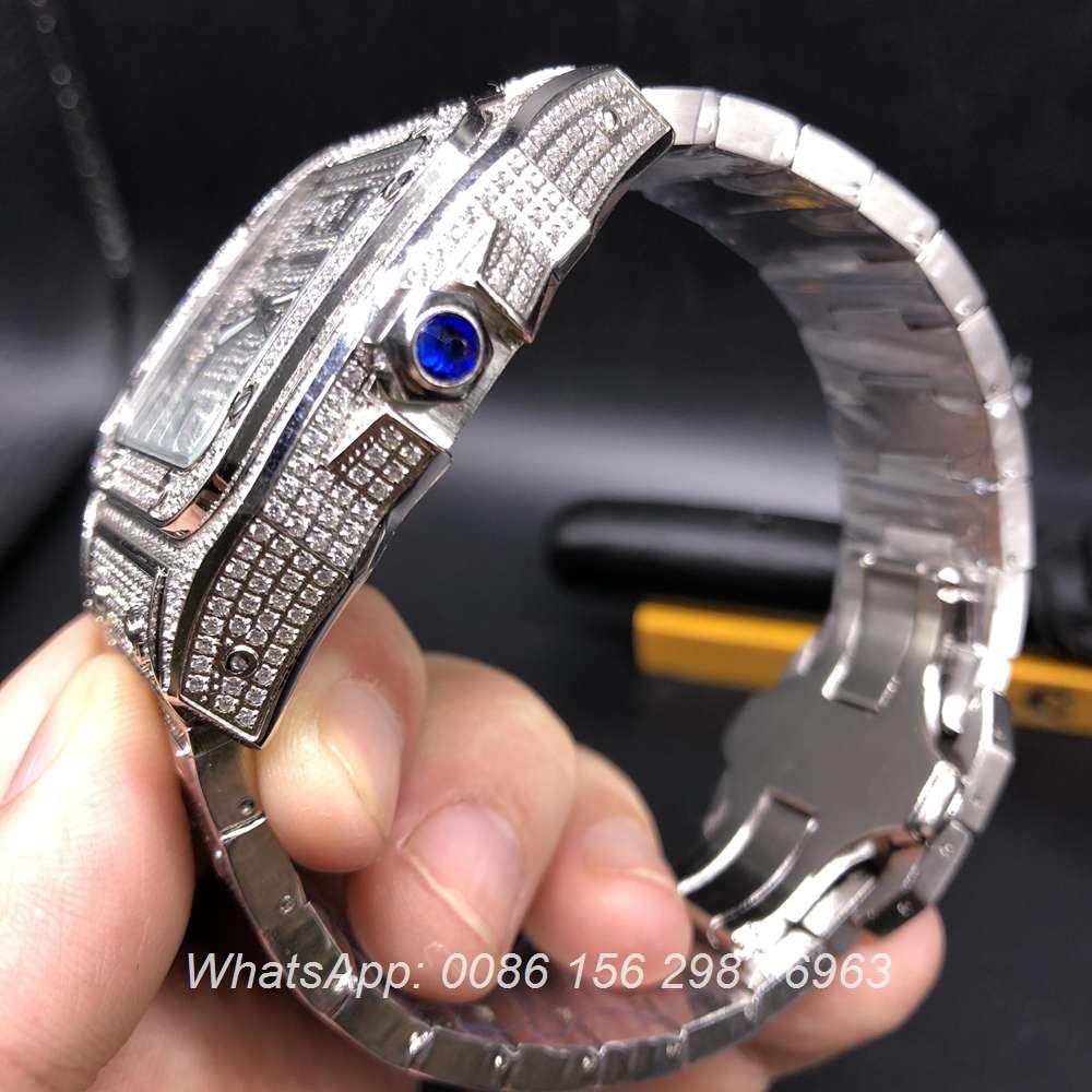C160Z118, Cartier Santos full iced out silver case diamonds dial quartz watch