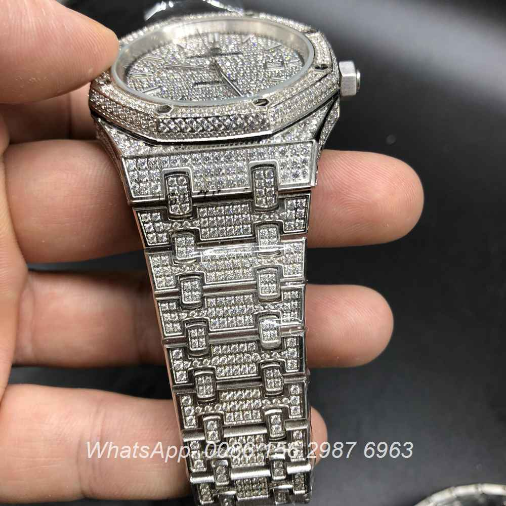 A180BL121, AP full iced out silver watch diamonds dial double row bezel