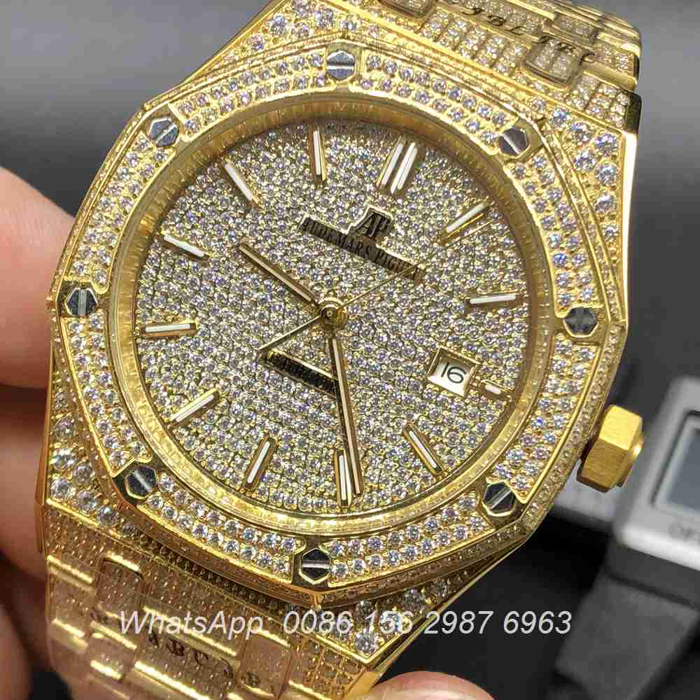 A180BL127, AP iced yellow gold automatic men's watch