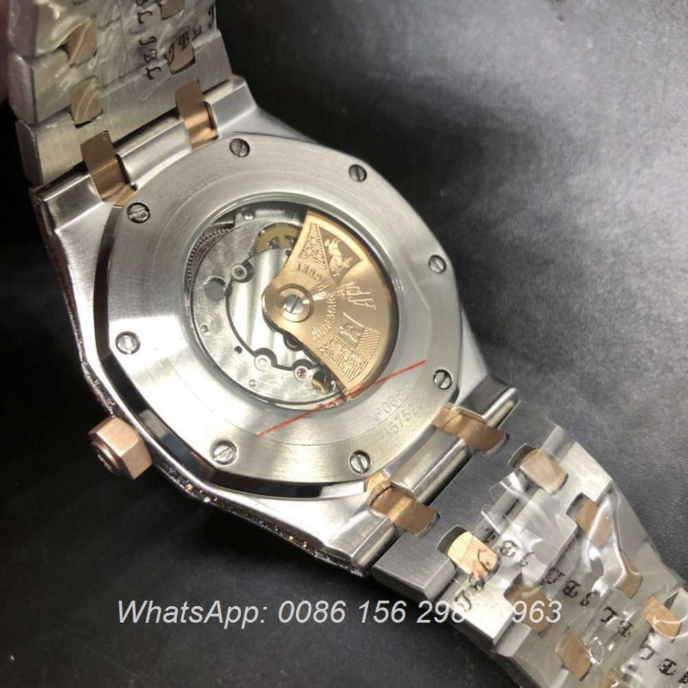 A180BL130, AP iced rose gold 2tone diamonds case automatic watch
