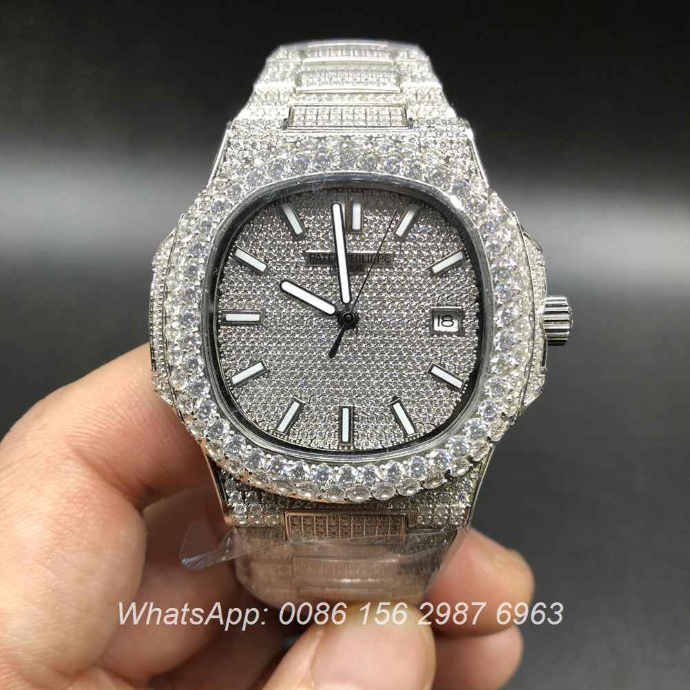 P190BL131, Patek Philippe iced silver big diamonds bezel automatic watch