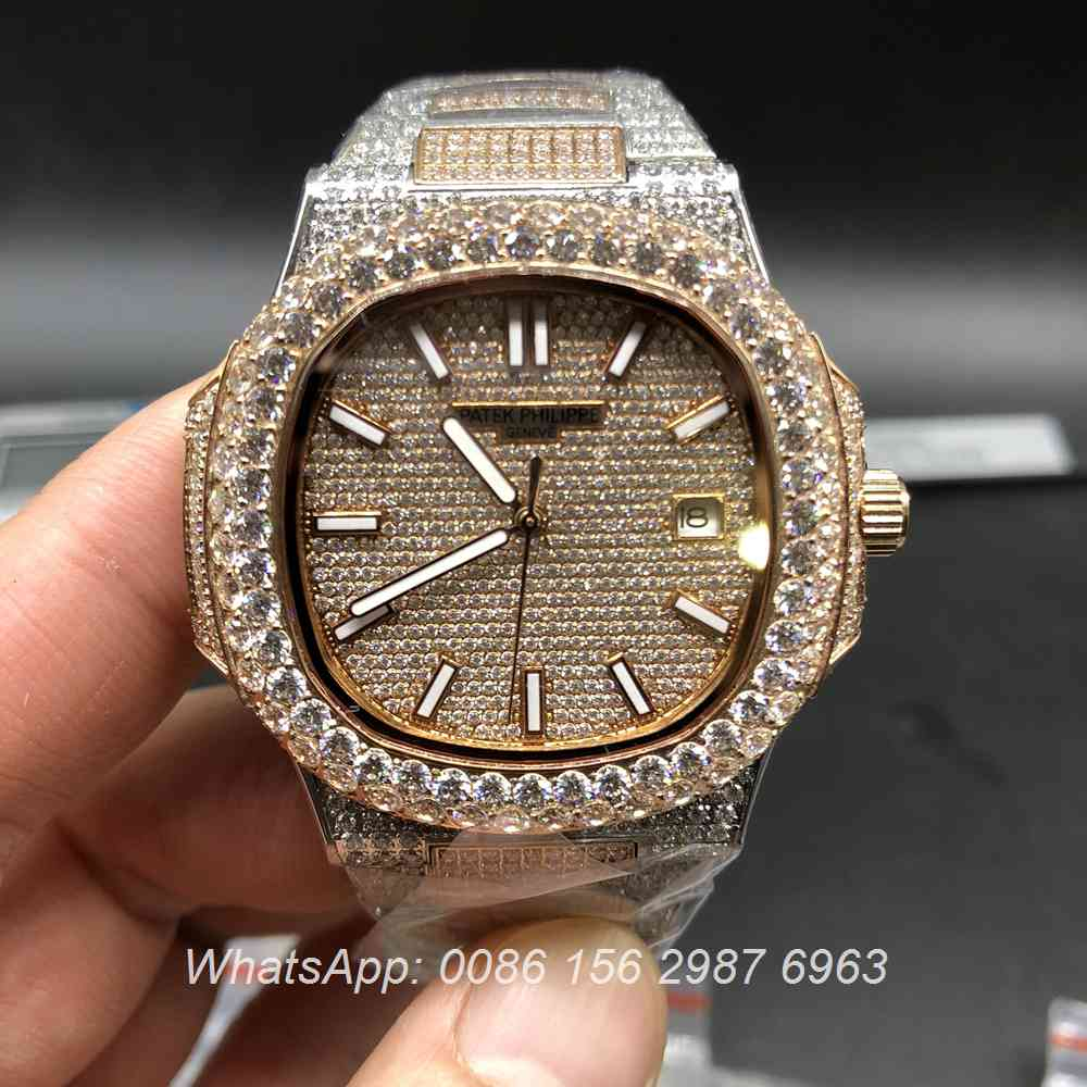 P190BL132, Patek Philippe iced rose gold 2tone big diamonds bezel men's watch