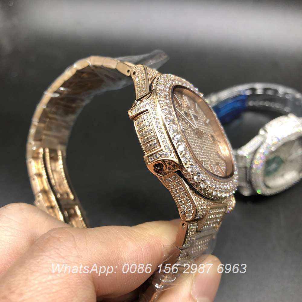 P190BL133, Patek Philippe full iced rose gold big diamonds bezel