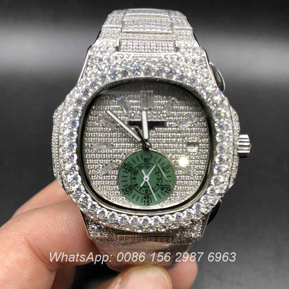 Patek Iced P240bl134 At Philippe peterclock Green Clock Pearl 6 Works Sub-dial Silver