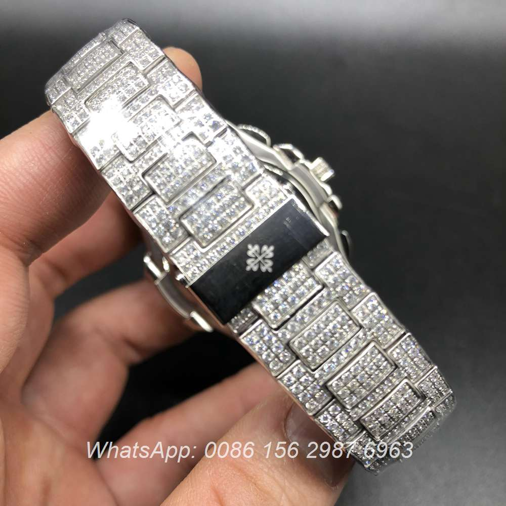 P240BL134, Patek Philippe iced silver green pearl sub-dial at 6 clock works