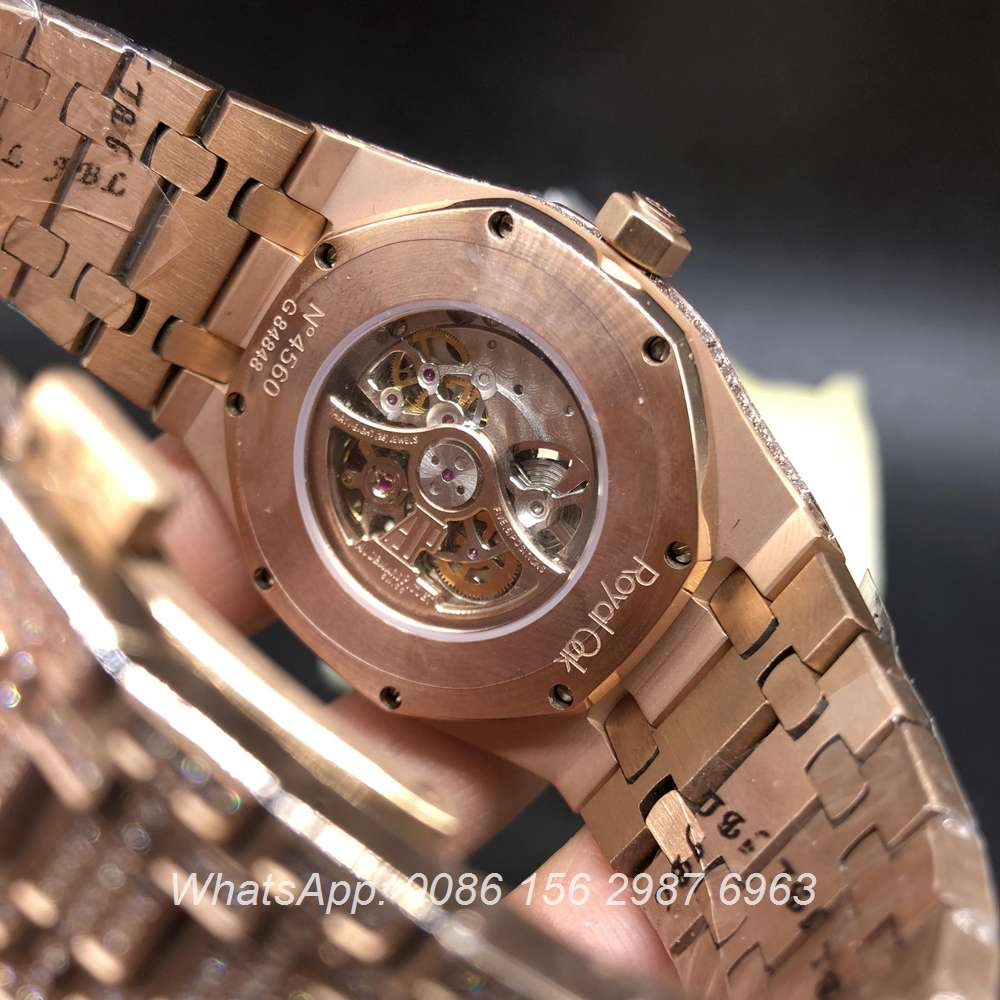 A180BL137, AP iced rose gold 39mm automatic skeleton men's watch