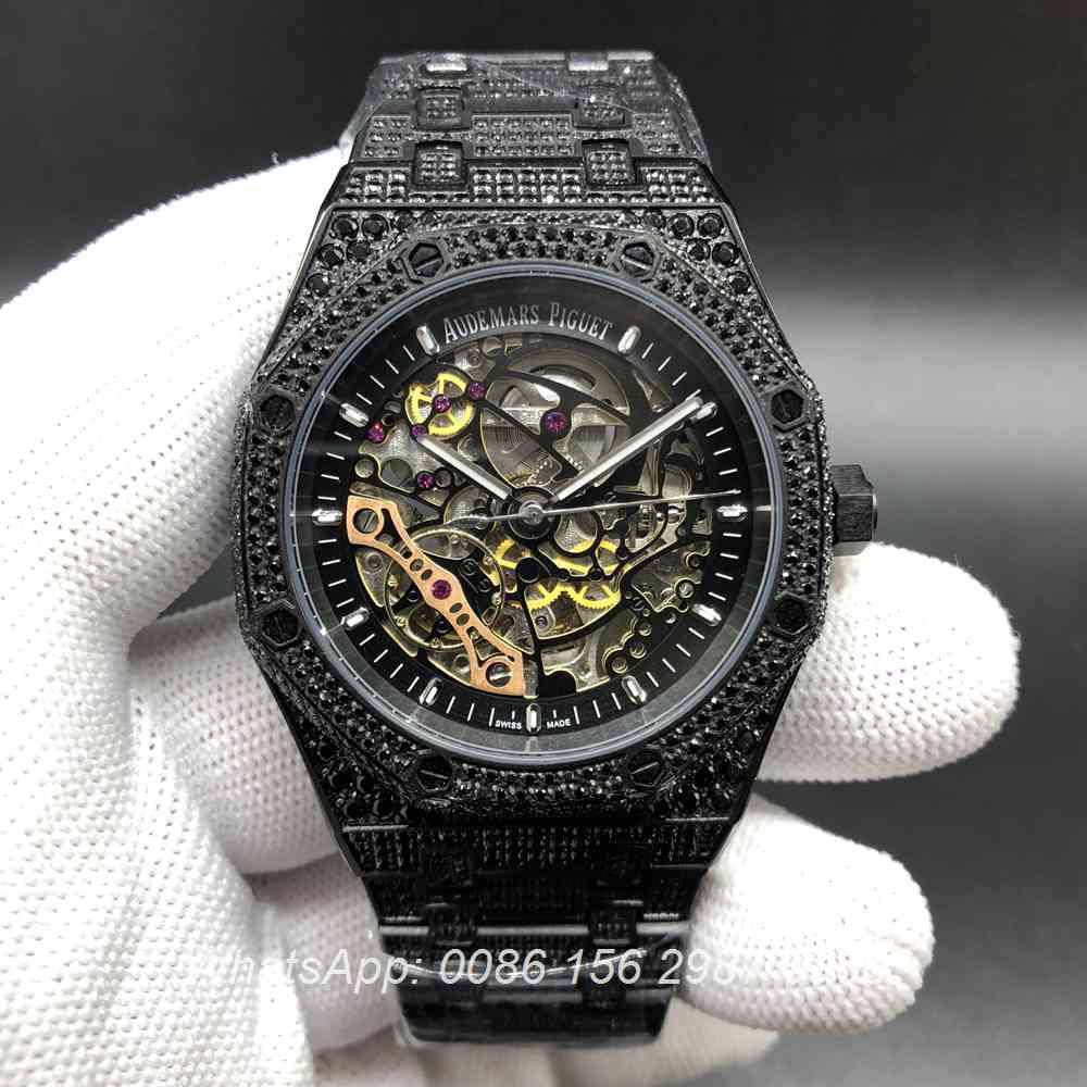 A180BL135, AP iced black skeleton case men size 42mm full diamonds automatic watch