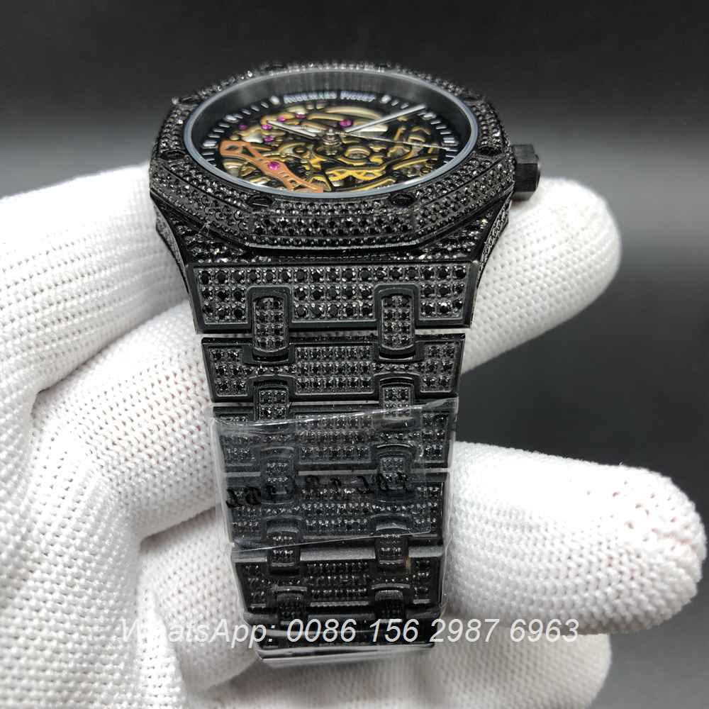 A180BL135, AP iced black skeleton case men size 42mm full diamonds automatic watch
