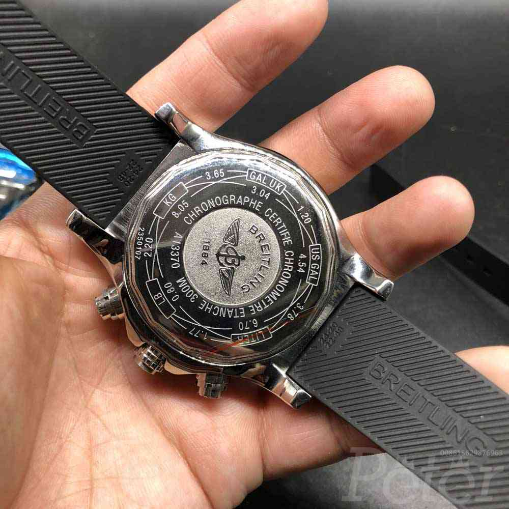 B035M159, Breitling silver/black quartz movement diamonds bezel men's watches