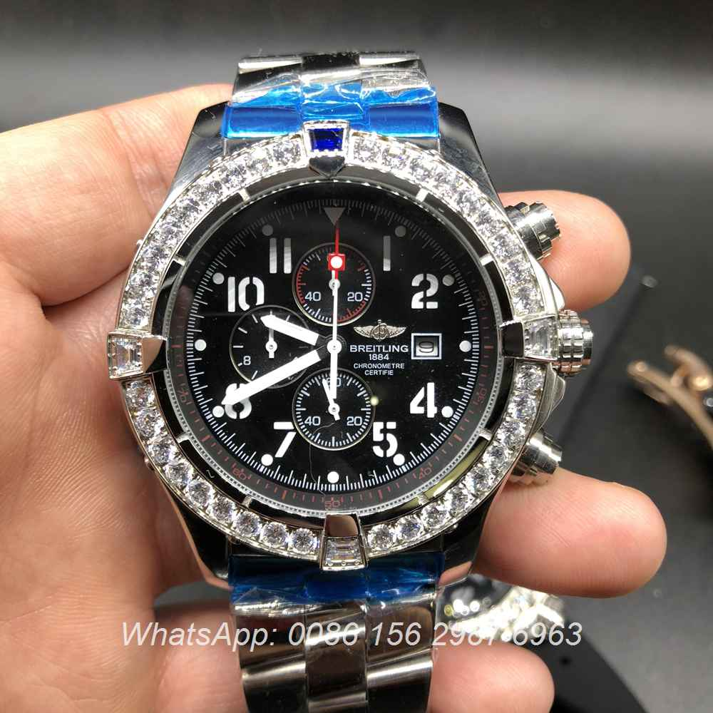 B035M159, Breitling quartz diamonds bezel men's watch