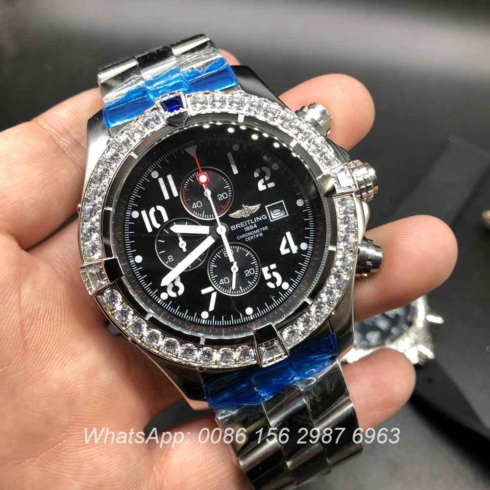 B035M159, Breitling quartz diamonds bezel men's watch