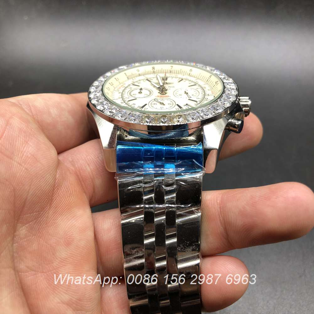 B035M160, Breitling Bentley Quartz diamonds bezel white face big size 48mm