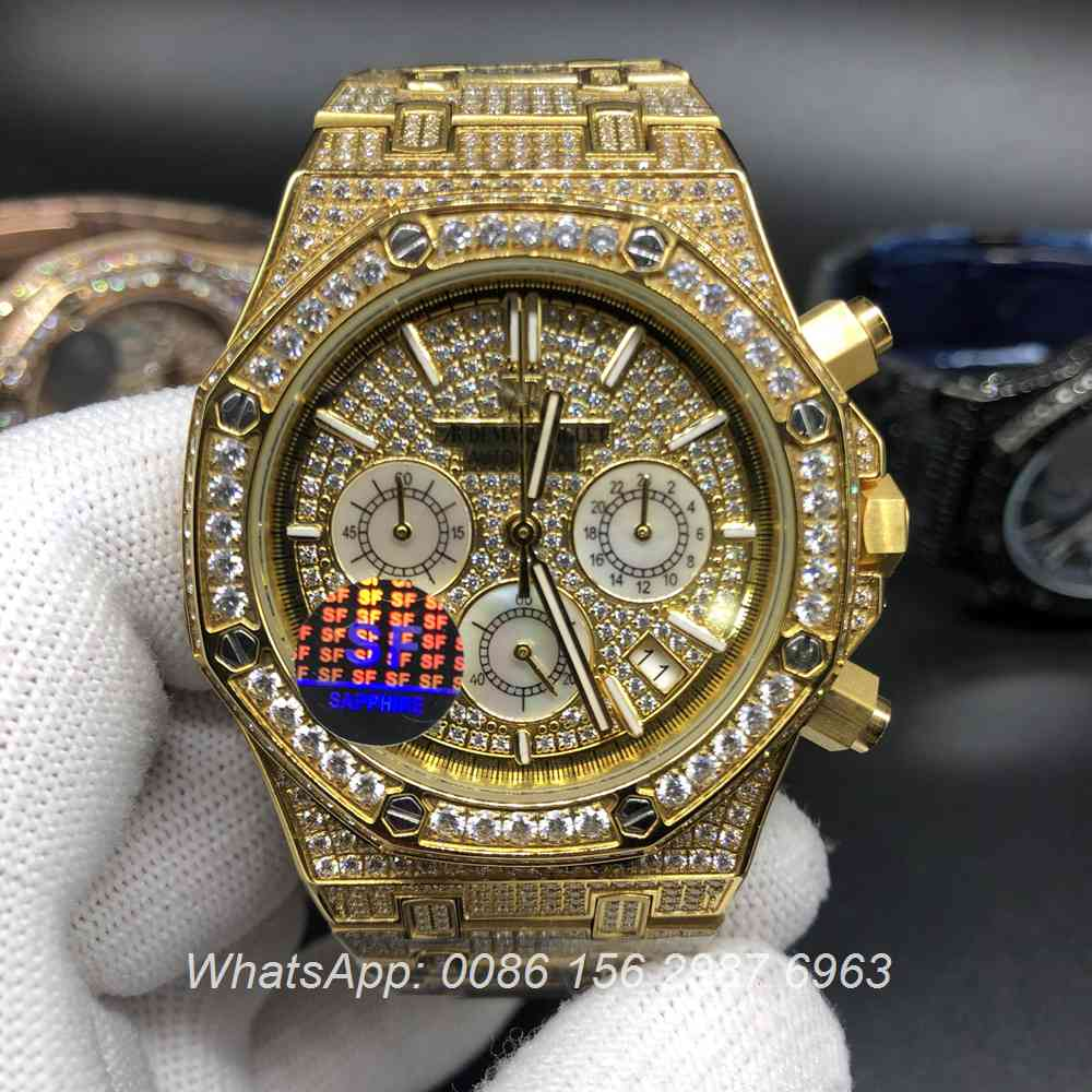 A115M154, AP diamonds face gold case 41mm VK quartz full works watch