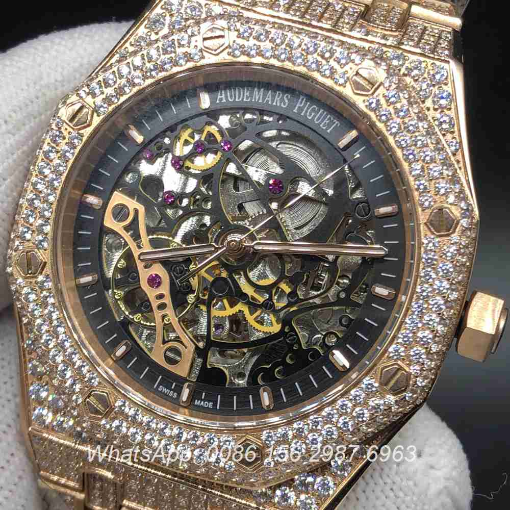 A180BL143, AP full iced rose gold skeleton automatic watch 41mm