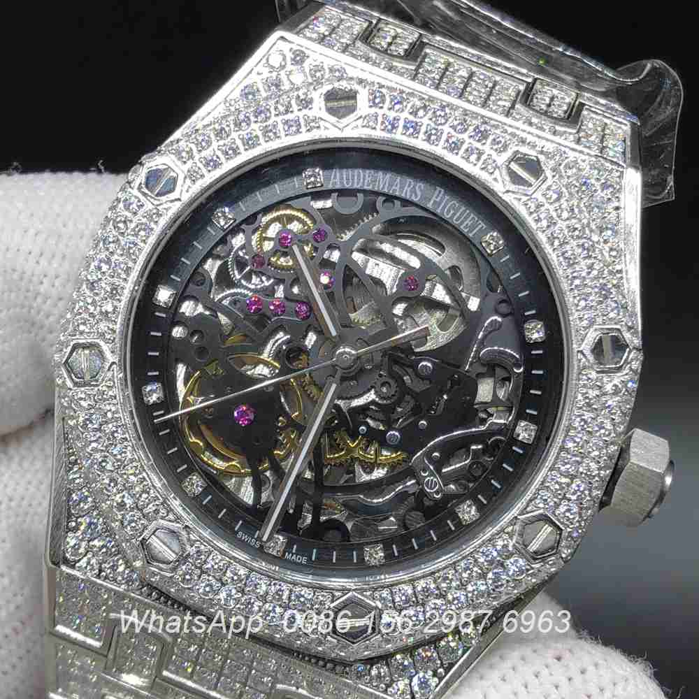 A180BL144, AP iced silver case with skeleton black dial 39mm automatic watch