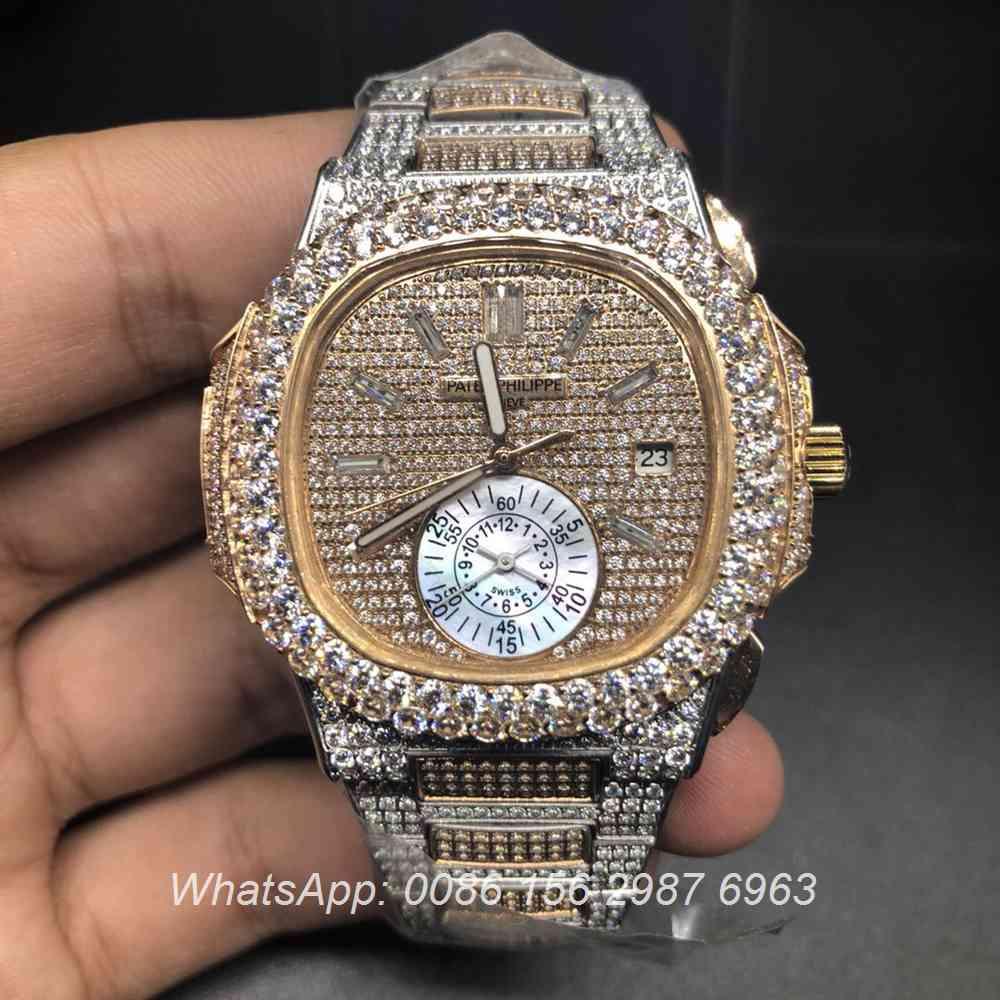 P240BL145, Patek iced rose gold 2tone automatic 40mm big diamonds bezel