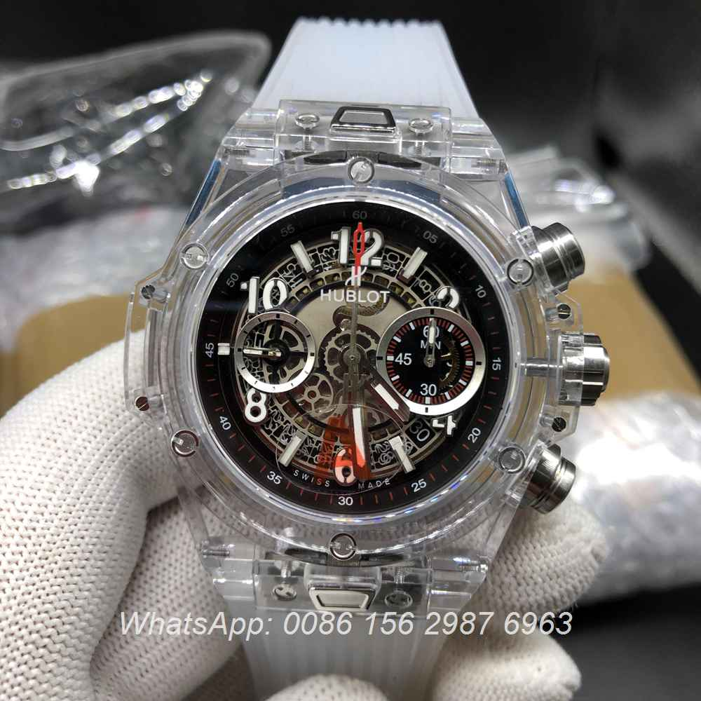 H225WT153, Hublot Unico see-through ETA 7750 chronograph full works