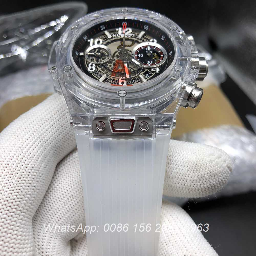 H225WT153, Hublot Unico see-through ETA 7750 chronograph full works