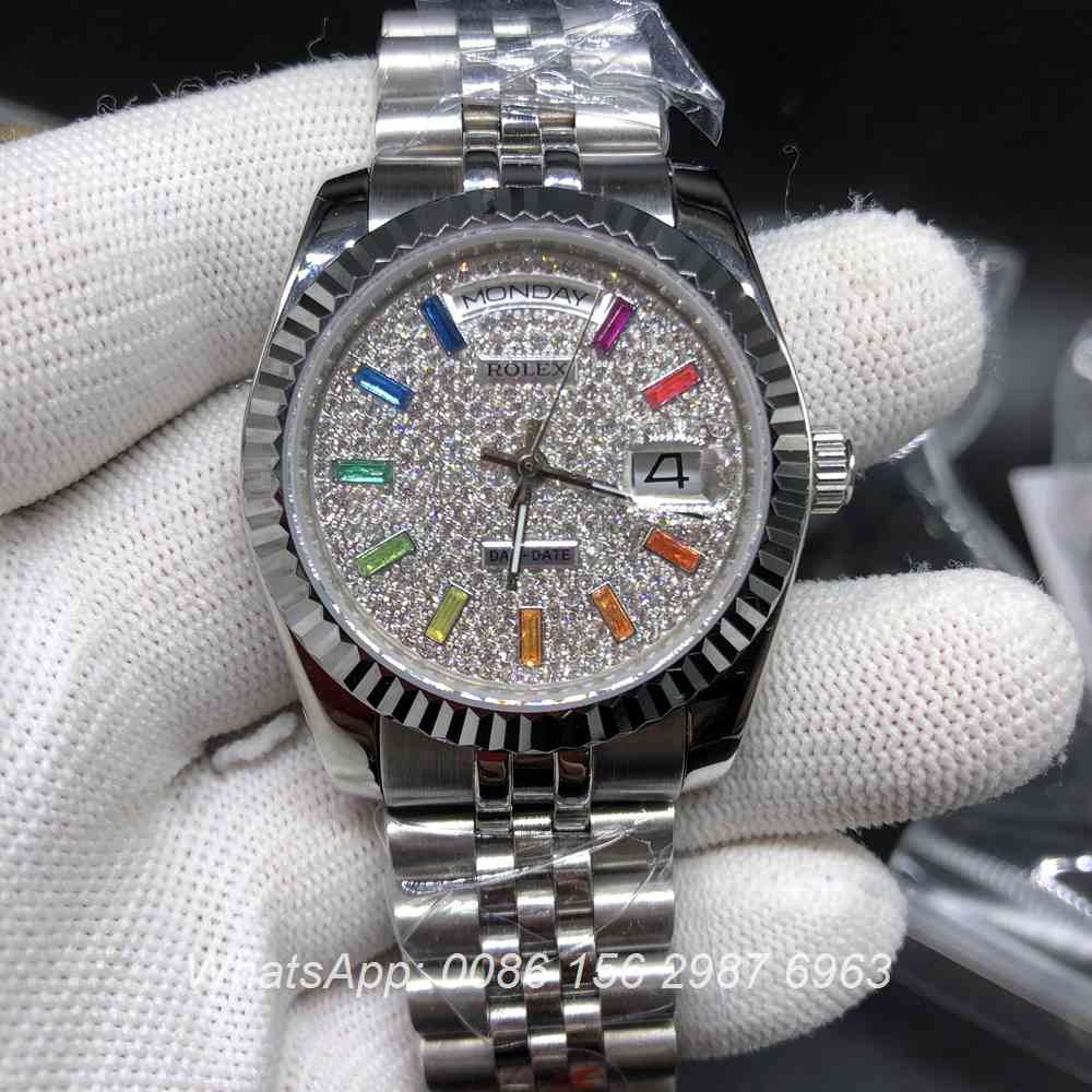 R025MH150, DayDate diamonds face rainbow numbers 36mm