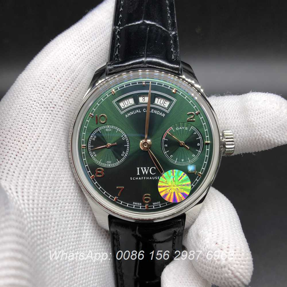I155WT152, IWC green dial YL factory best quality black leather strap watch