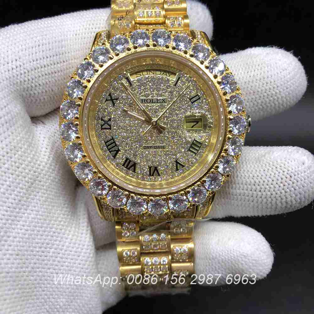 R098BL148, DayDate gold prongset diamonds bezel 43mm automatic watch