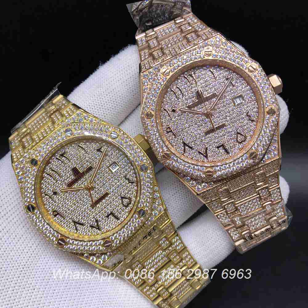A200BL149, AP iced Arabic numbers gold case automatic 42mm