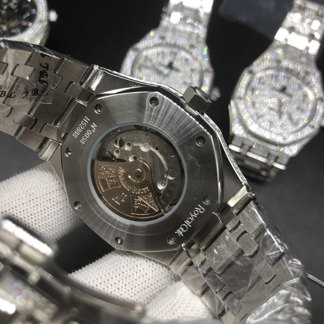 A002BL170, AP diamonds Arabic numbers shiny iced silver watch