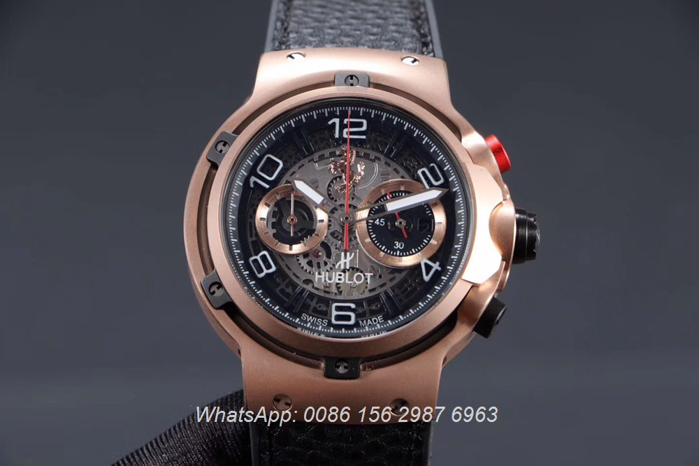 H065HL164, Hublot Ferrari GT quartz rose gold case 45mm stopwatch