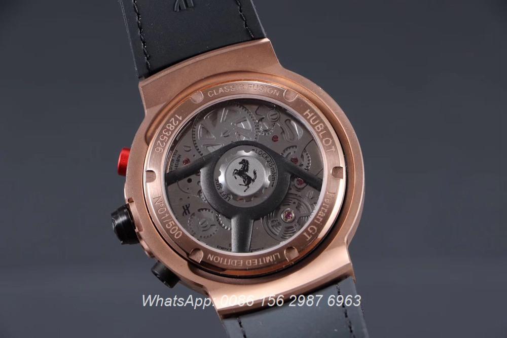 H065HL164, Hublot Ferrari GT quartz rose gold case 45mm stopwatch
