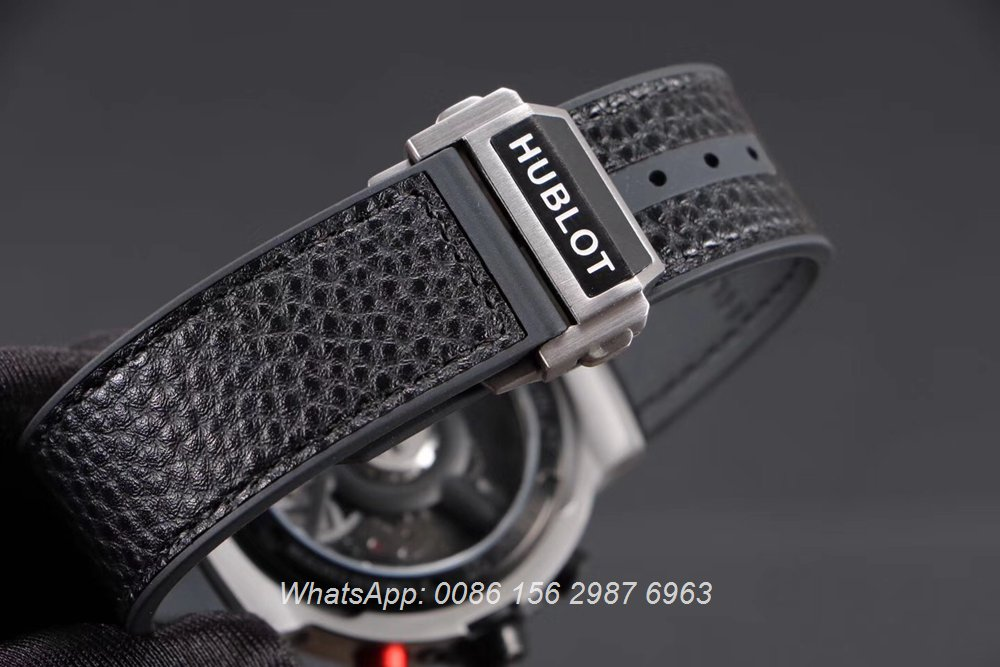 H065HL166, Hublot quartz ferrari GT stopwatch silver case with black bezel