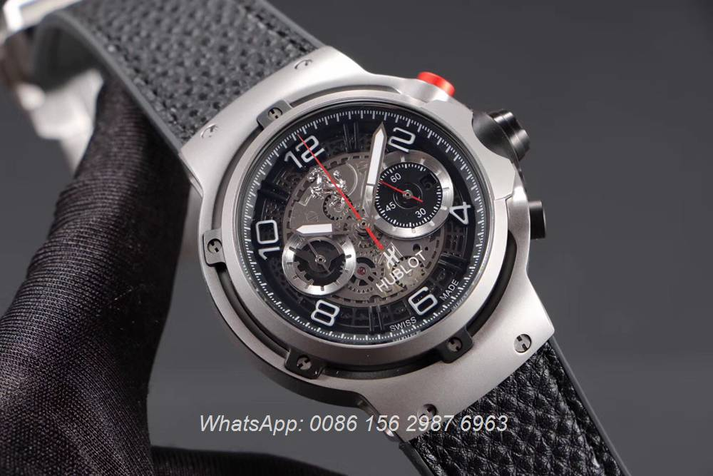 H065HL165, Hublot Silver case 45mm stopwatch GT quartz movement