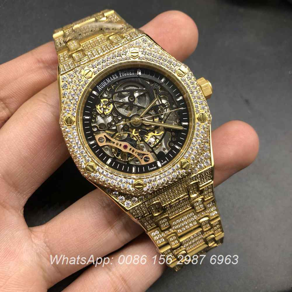 A18BL184, AP skeleton iced shiny yellow gold case automatic watch