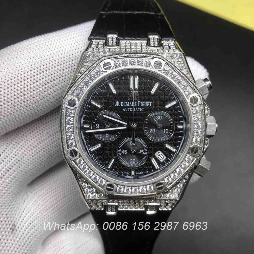 A07BL182, AP diamonds silver chronograph quartz leather strap shiny stones