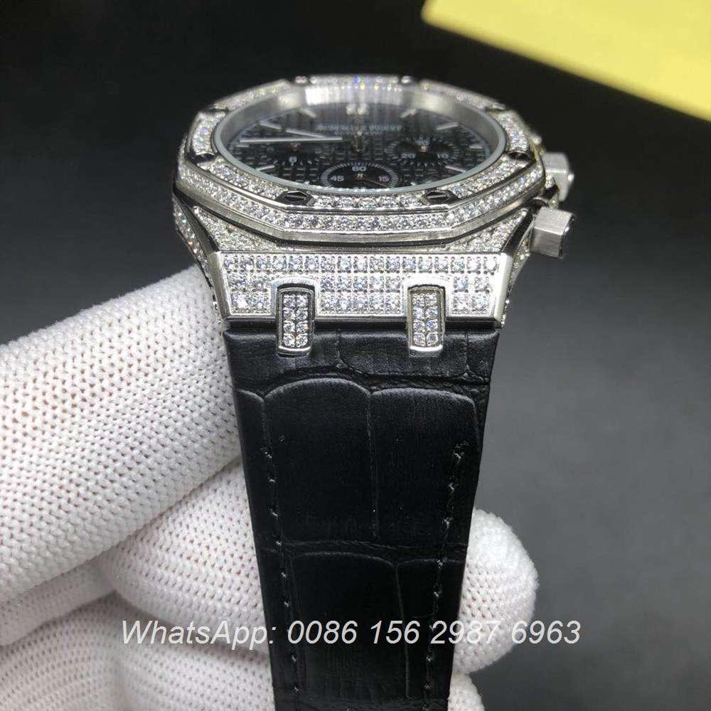 A07BL182, AP diamonds silver chronograph quartz leather strap shiny stones