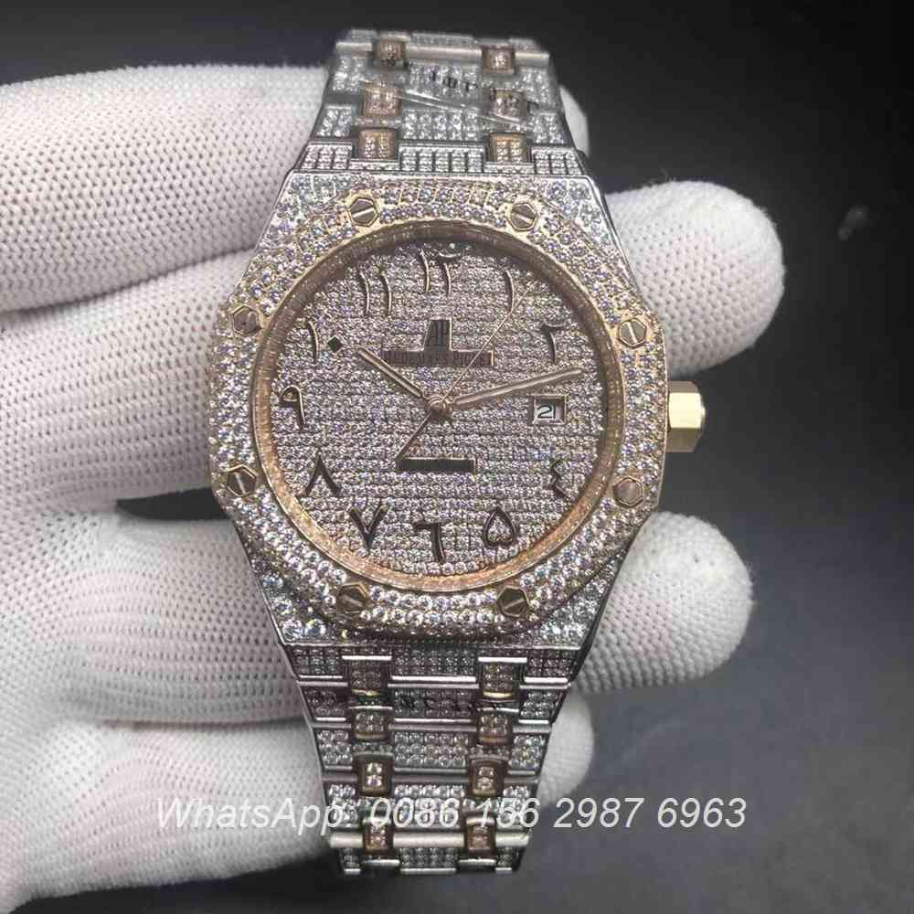 A20BL183, AP Arabic diamonds rose gold 2tone automatic shiny watch