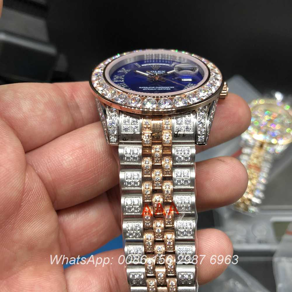 R105MH193, DayDate rose gold 2tone case with blue dial shiny diamonds