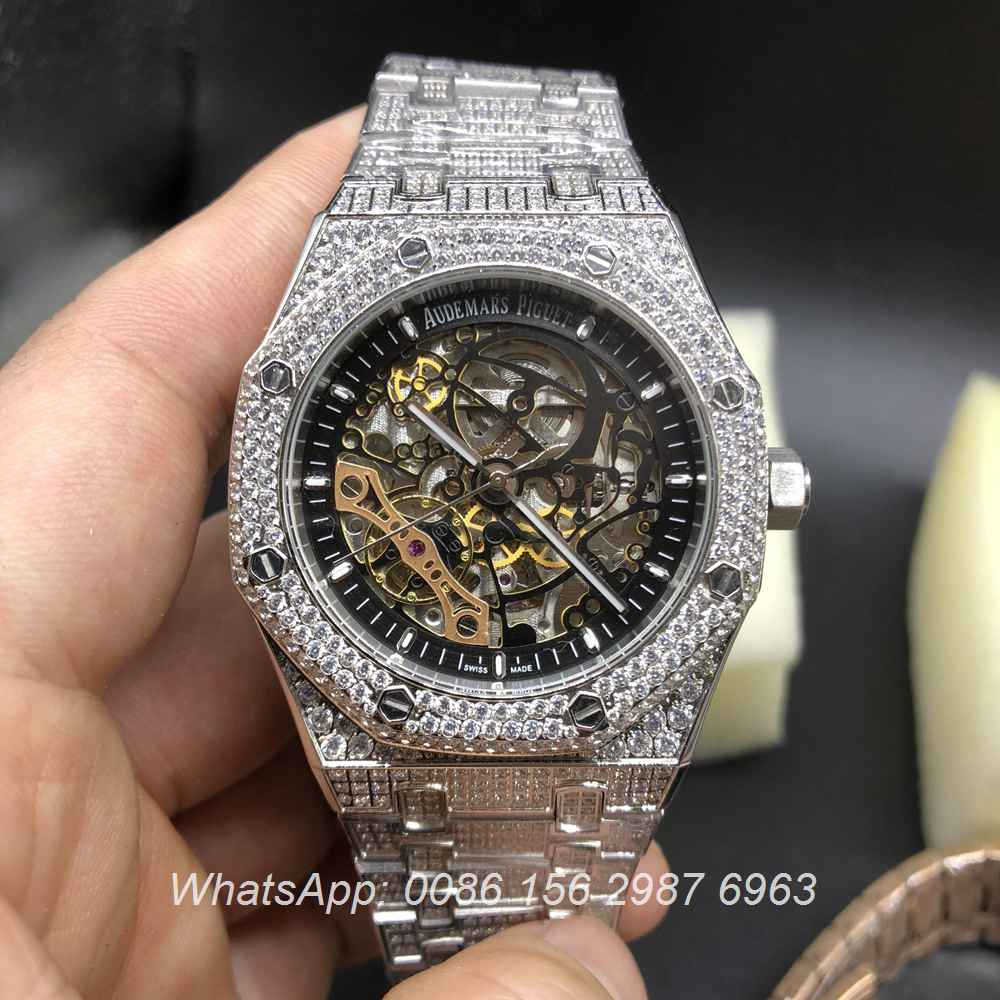 A18BL185, AP iced silver shiny diamonds automatic watch skeleton