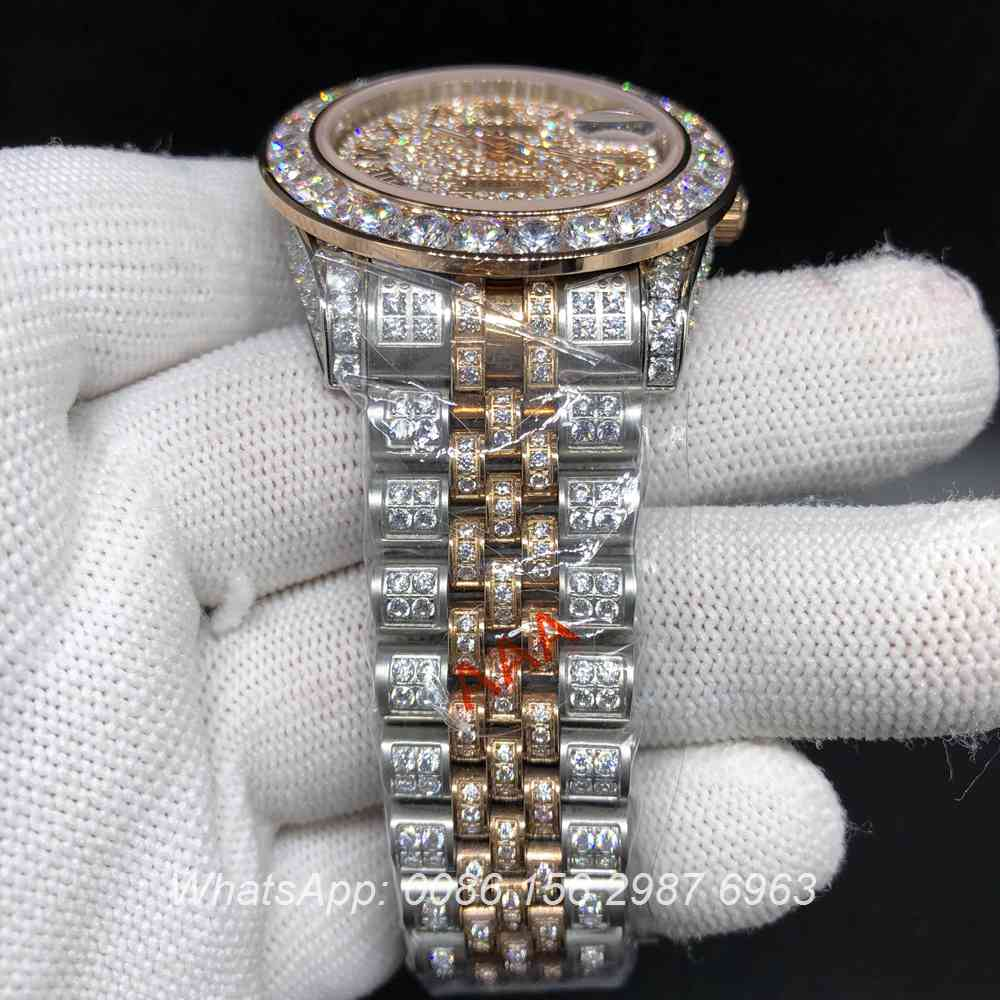 R105MH189, Datejust rose gold 2tone full diamonds automatic Jubilee strap watch