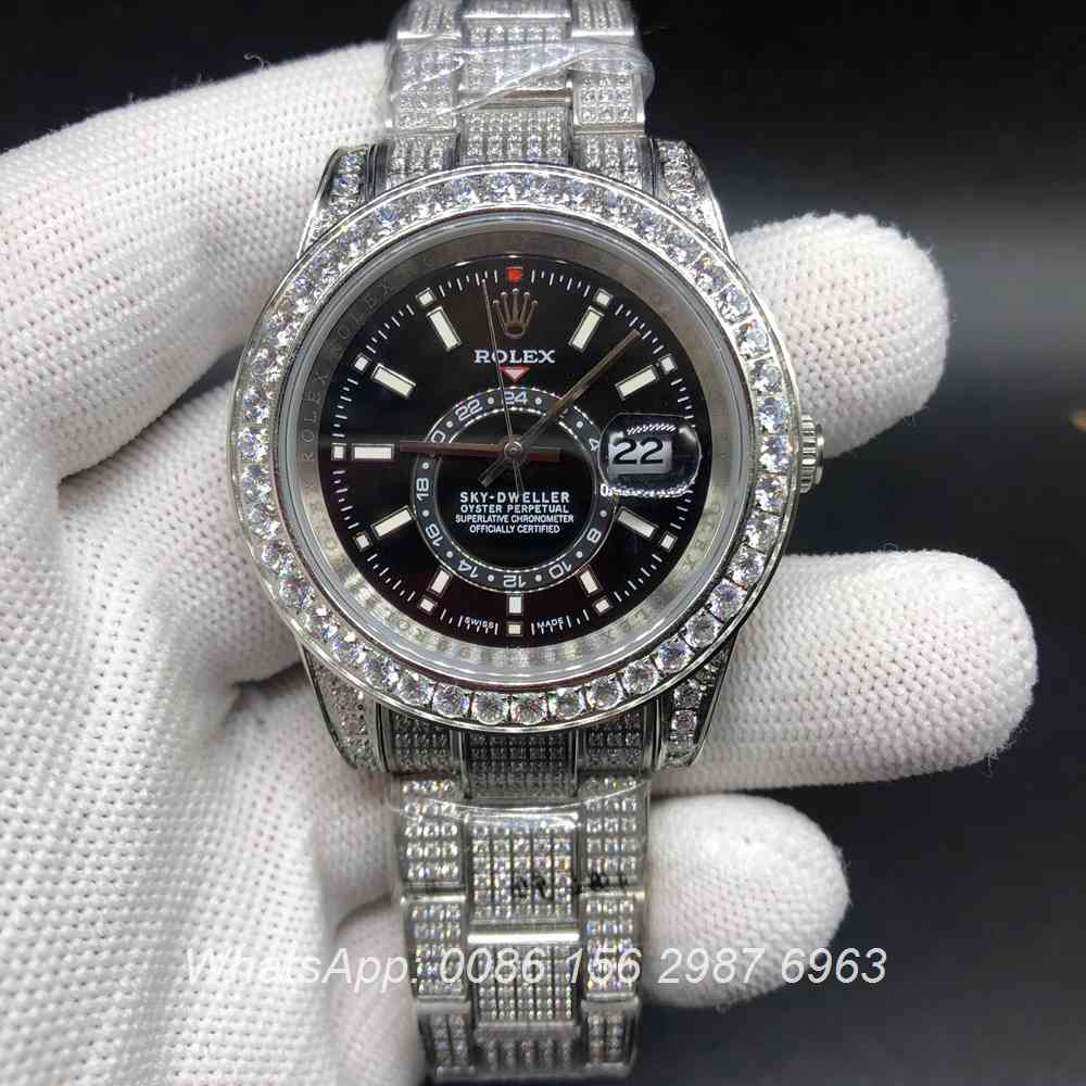 R105MH190, Sky-Dweller full diamonds silver case with oyster strap