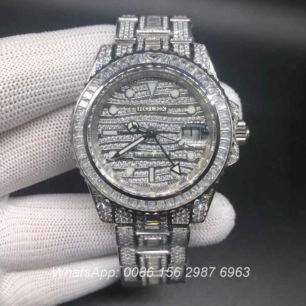 R305WT186, Rolex GMT diamonds 2836 full works luxury watch