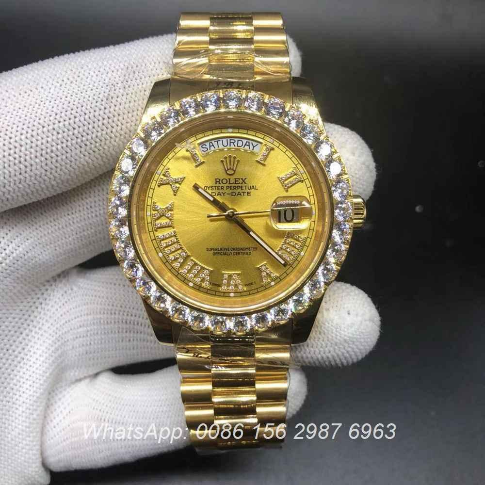 R125WS187, DayDate gold case Asian 2836 high grade Swiss watch