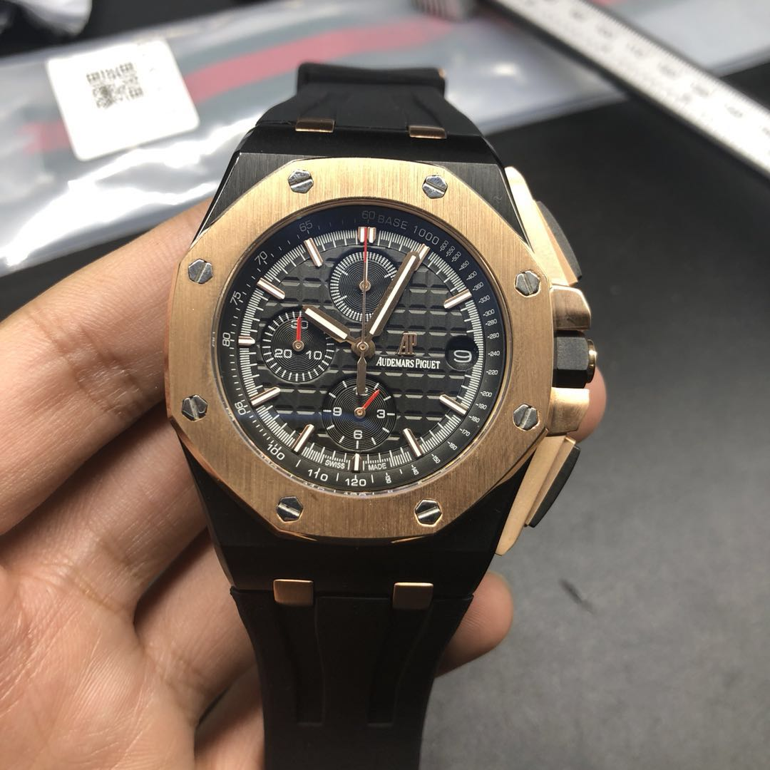A030BL196, AP quartz black case with rose gold bezel chronograph full works