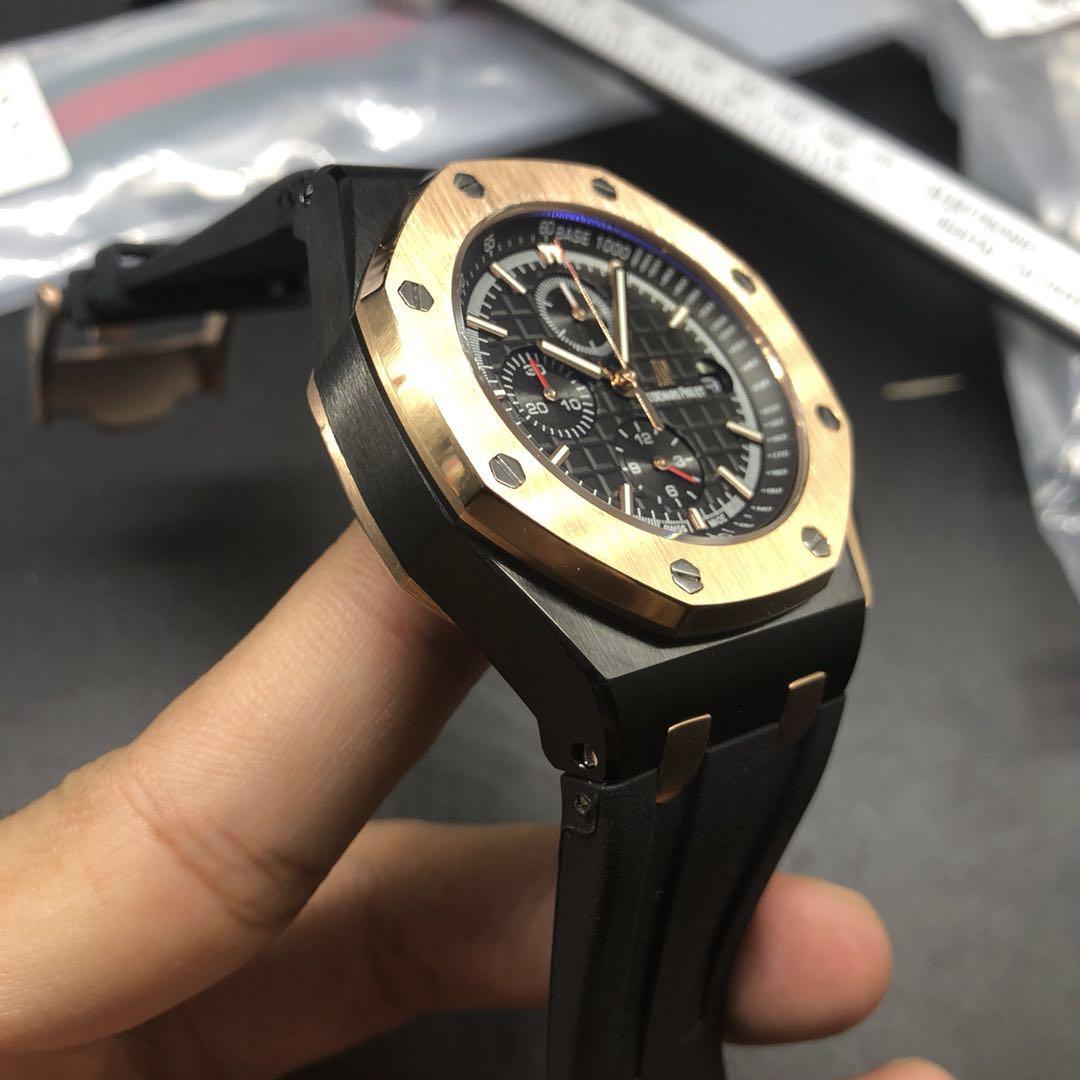 A030BL196, AP quartz black case with rose gold bezel chronograph full works