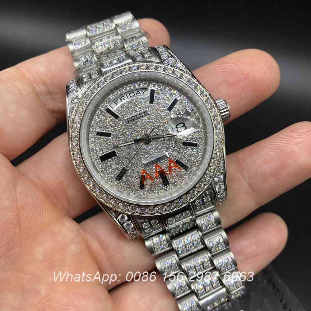 R092MH207, DayDate 36mm iced silver automatic 2813 movement
