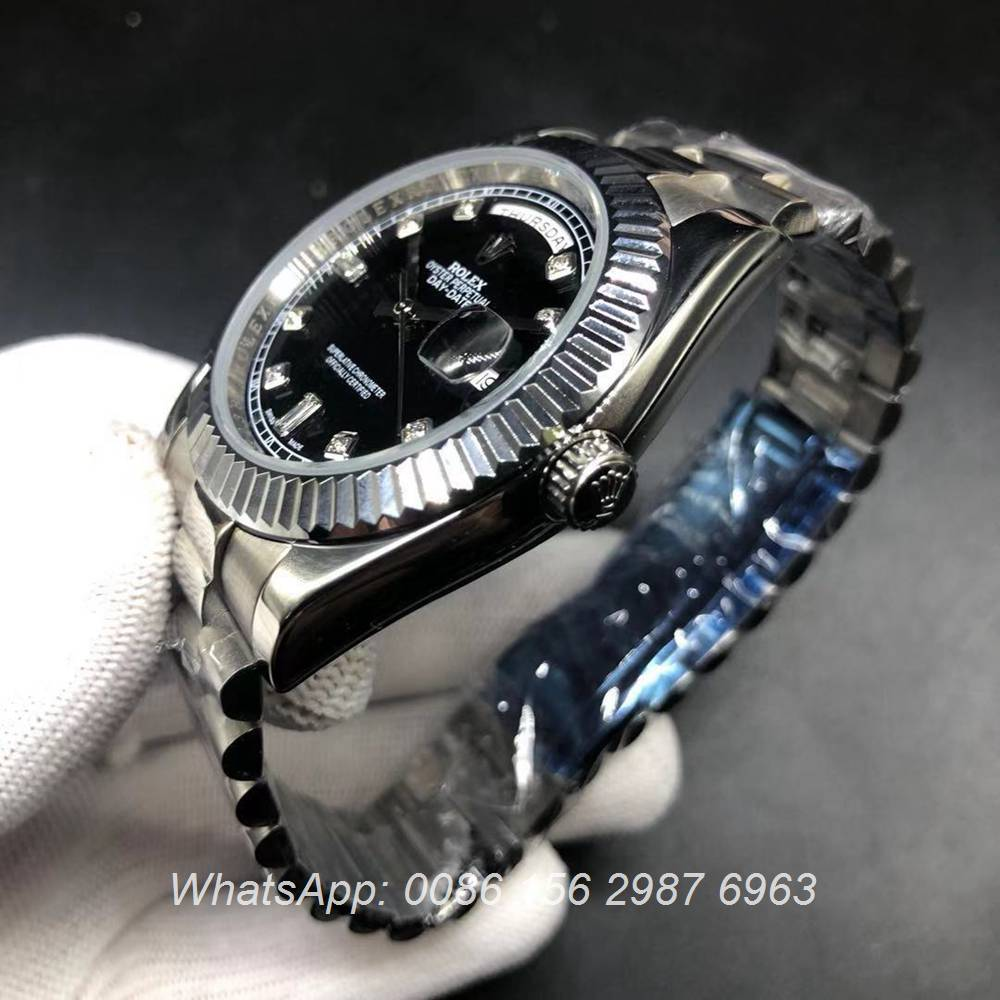 R022AS208, DayDate 41mm diamonds time pointers president strap