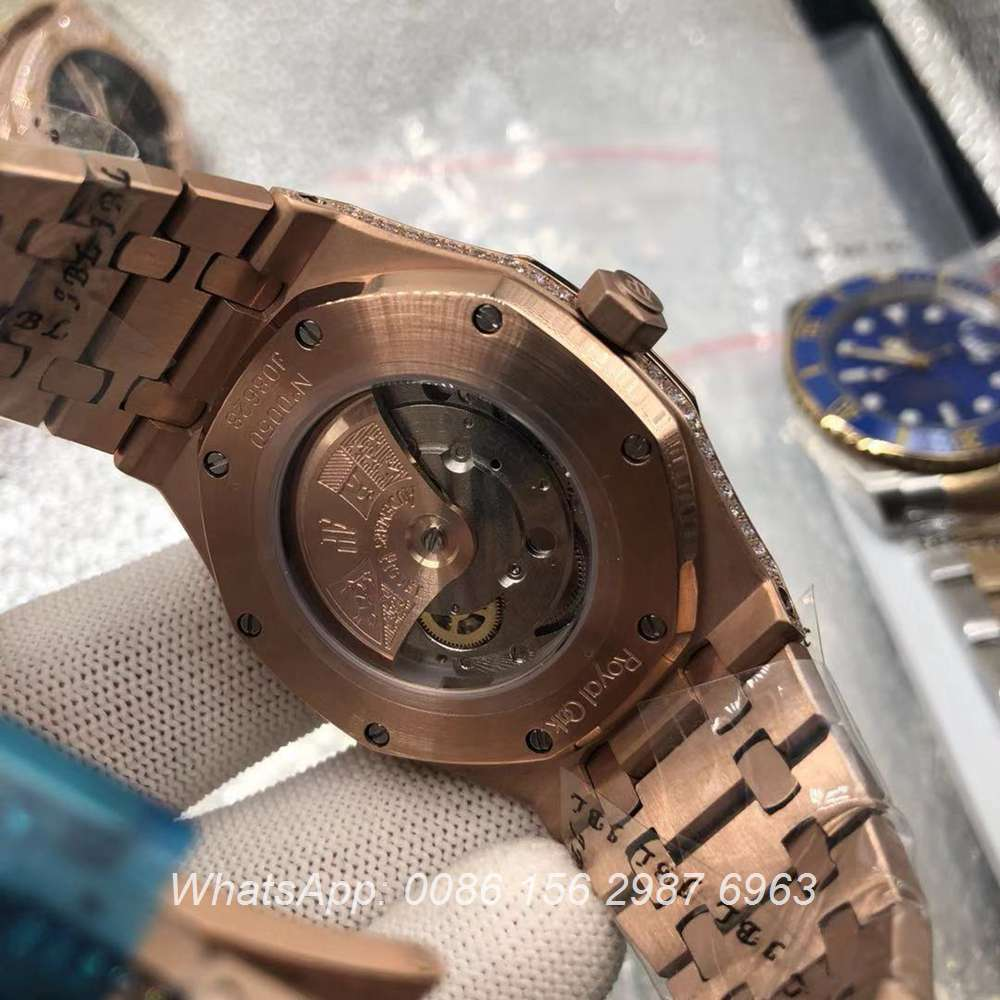 A185BL194, AP iced rose gold diamonds markers automatic luxury watch